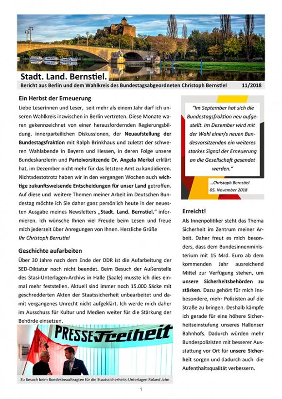 Stadt. Land. Bernstiel: Ausgabe November 2018