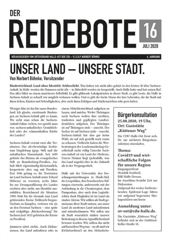 Reidebote: Ausgabe Juli 2020