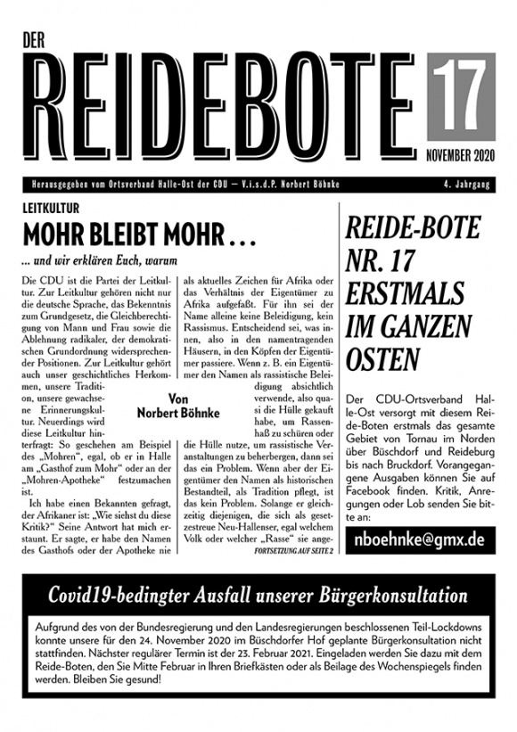 Reidebote: Ausgabe November 2020